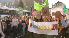 Protesters March by Camera - UK Austerity Protests, Bristol 2015 HD Stock Footage