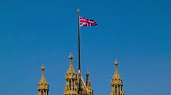 English Flag on Westminster, close up - stock footage