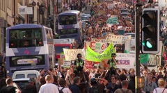 Protest March in Street & Police HD - stock footage