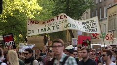 'No Austerity' - Protest March in Bristol City Center, UK HD Stock Footage