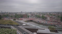 Amsterdam City Aerial View Over The City Timelapse Stock Footage