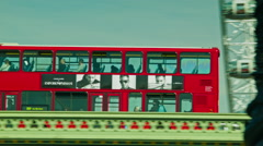 Red Bus crossing the Westminster Bridge Stock Footage