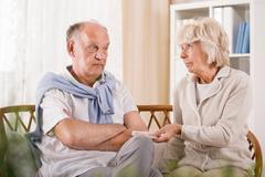 Senior man refusing taking medicament - stock photo