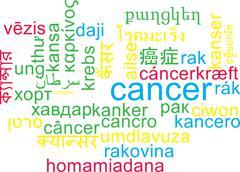 Cancer multilanguage wordcloud background concept Stock Illustration