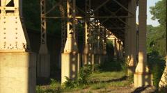 Chicago Transit tracks - shot of pillar base & pan up (mute) Stock Footage