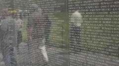 Washington DC Vietnam War Memorial tourists reflection wall fast 4K 050 Stock Footage