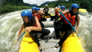 Stock Video Footage of Group of adult women's screaming and yelling while whitewater rafting, model