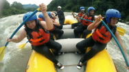 Stock Video Footage of Group of tourists women's on whitewater rafting experience