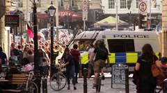 Police Van in Street During Protest - UK Austerity Protests: Election 2015 HD Stock Footage