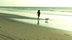 Adult woman walking on the beach at sunset with dog Stock Footage