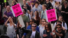 Protest: 'Death is Coming' Signs - UK Austerity Protests: Election 2015 HD Stock Footage