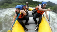Stock Video Footage of Immersive shot of whitewater rafting boat on Pastaza river Ecuador