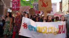 Stock Video Footage of Girls Protesting New British Government - UK Austerity Protests: Election 2015
