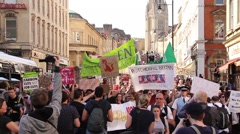 Thousands of People March Towards Camera - UK Austerity Protests: Election 2015 Stock Footage