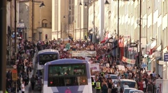 Road Filled with Protesters - UK Austerity Protests: Election 2015 HD Stock Footage