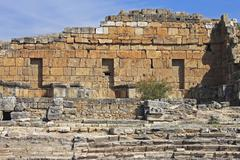 Ruins of theater in ancient town Hierapolis Turkey - stock photo