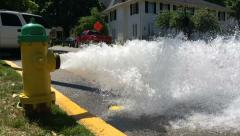 Water Blasts from Fire Hydrant in Slow Motion 2 Stock Footage