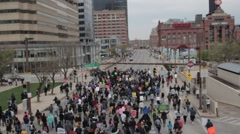 Crowd Marching Baltimore Stock Footage