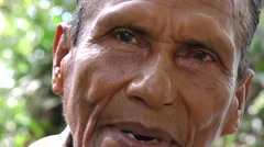 Adult Sionas indigenous speaking face close up Stock Footage