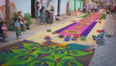 Colorful carpets made of sawdust - stock footage