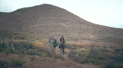 Family in horse adventure Stock Footage