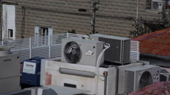 Air conditioning engine on rooftop, long shot Arkistovideo