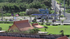 Gas Station and Traffic on the Island of GUAM, USA Stock Footage