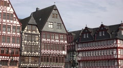 Stock Video Footage of ULTRA HD 4K Frankfurt Lady Justice Romer facade house medieval landmark icon day