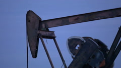 Close up working oil pump Stock Footage