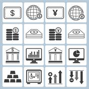 financial icons - stock illustration