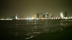 Time lapse, Tel-Aviv Mediterranean coastline at night, long shot Stock Footage