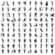 Business man in different acting, 100 actions set, worker set, office people Stock Illustration