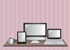 Desktop Computer, Laptop and Digital Tablet Vector Illustration Stock Illustration