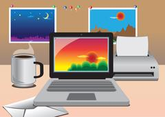 Work From Home Office Equipment - stock illustration