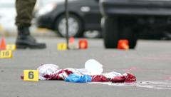 Bloodied clothes laying on the ground at crime scene - Commercial licensing Stock Footage