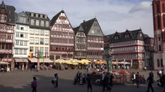 Stock Video Footage of ULTRA HD 4K Romer public square Frankfurt medieval old town Lady Justice