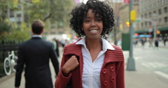 African American black woman in city walking smile happy face - stock footage