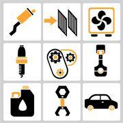 auto service icons - stock illustration