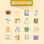 education icons - stock illustration