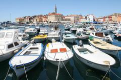 Large group of boats moored in Rovinj - stock photo