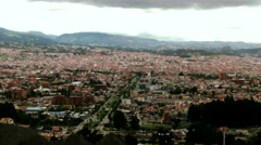 Stock Video Footage of Zoom in shot over touristic part of the Cuenca city in Ecuador, popular expats