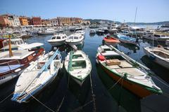 Anchored boats in Rovinj - stock photo