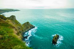 Irish landscape. Coastline atlantic ocean coast scenery. Stock Photos
