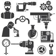 engineering icons - stock illustration