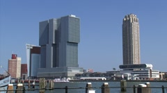 ROTTERDAM waterfront, skyline  with Holland America Line cruise terminal Stock Footage