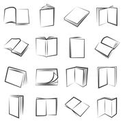 Hand drawn book icons Stock Illustration