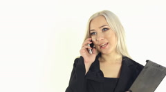 Close-up of self-assurance business woman enthusiastically talking on the phone - stock footage