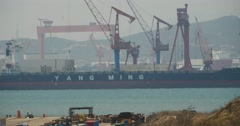 4k Huge oil tankers moored at the Container Terminal. Stock Footage