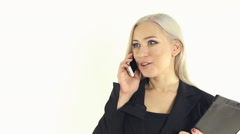 Stock Video Footage of Close-up of self-assurance business woman enthusiastically talking on the phone
