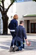 Sao Bento da Porta Aberta, Portugal. April 06, 2015: Devout walks the Peniten Stock Photos